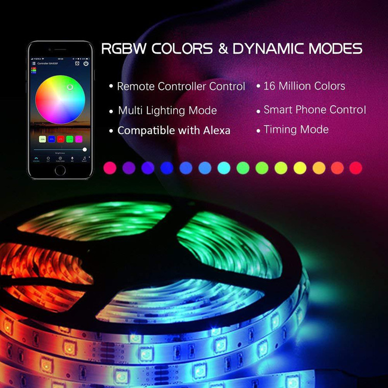 5M RGBW LED Self-adhesive Waterproof Flexible Strip Smartphone Wifi Control TUYA