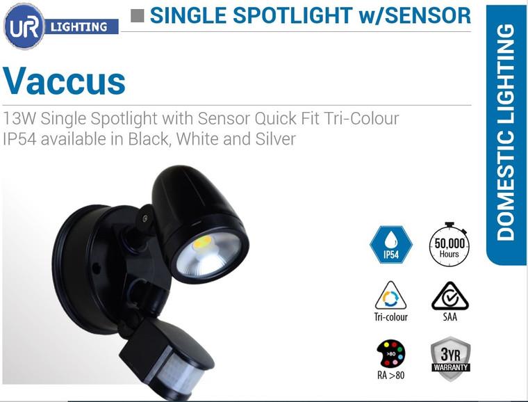 13W Single Spotlight with Sensor Quick Fit Tri-Colour