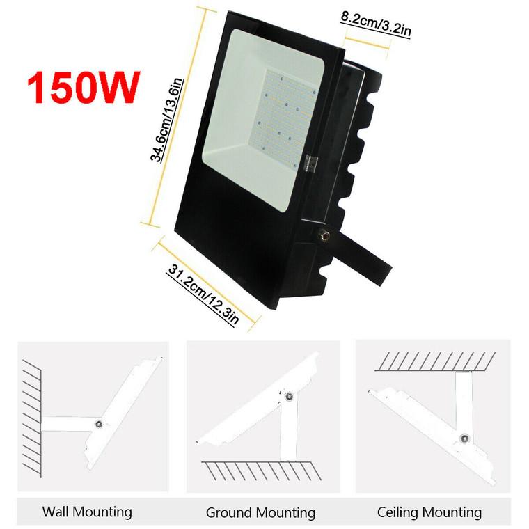 150W LED Flood Light Commercial Industrial Shed Floodlights daylight 6500K IP65 (19,500 Lumens)