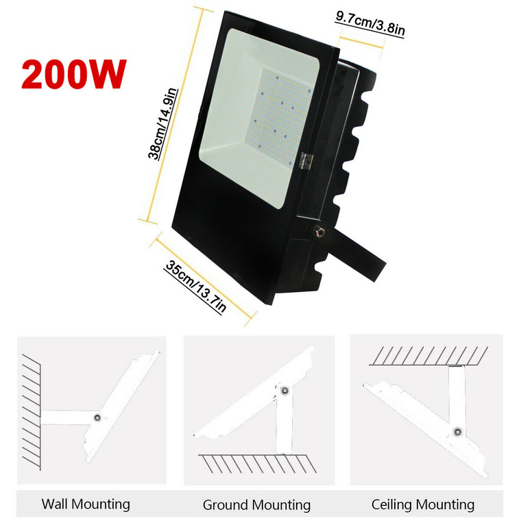 200W LED Flood Light Commercial Industrial Shed Floodlights daylight 6500K IP65 (26,000 Lumens)