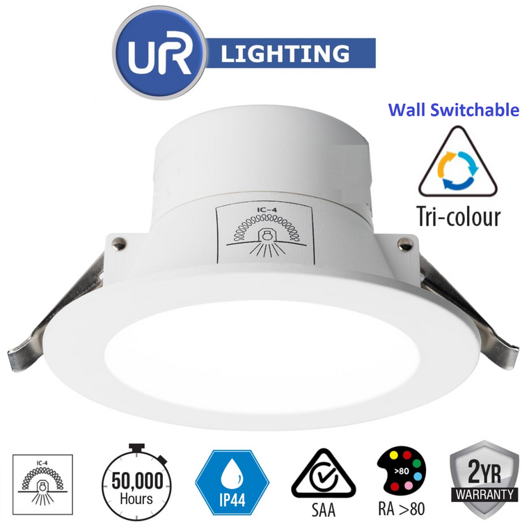10W LED Tri-Colour Downlight with Changing Colour via Wall Switch