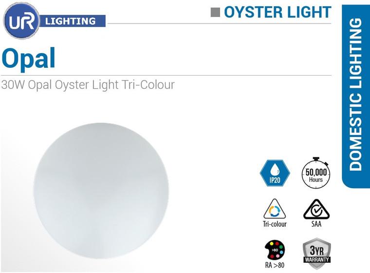 30W Opal Oyster Light Tri-Colour 400mm