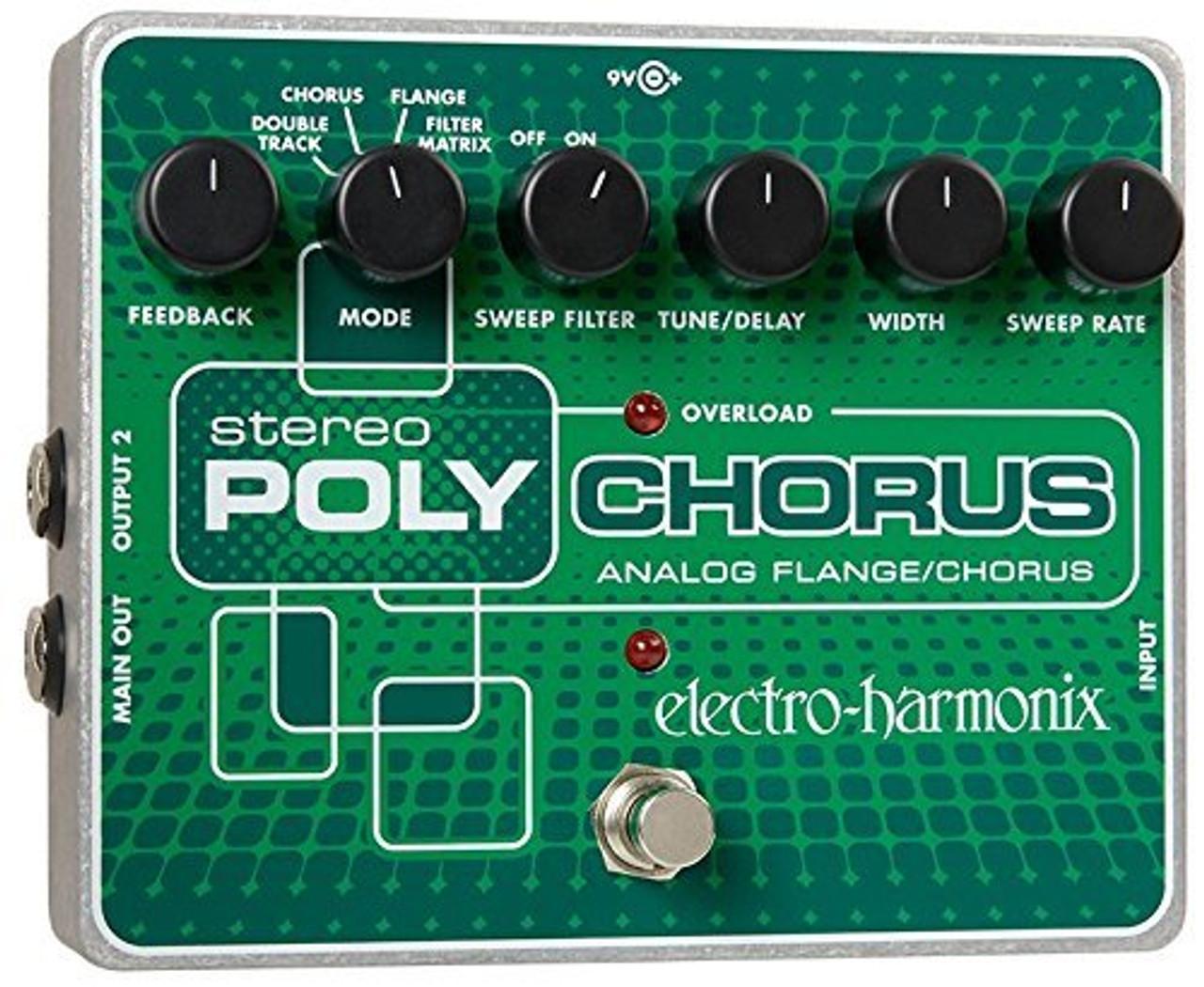 Electro Harmonix STEREO POLYCHORUS Analog/Chorus/Flanger/Slapback Echo, 24DC-100 PSU included