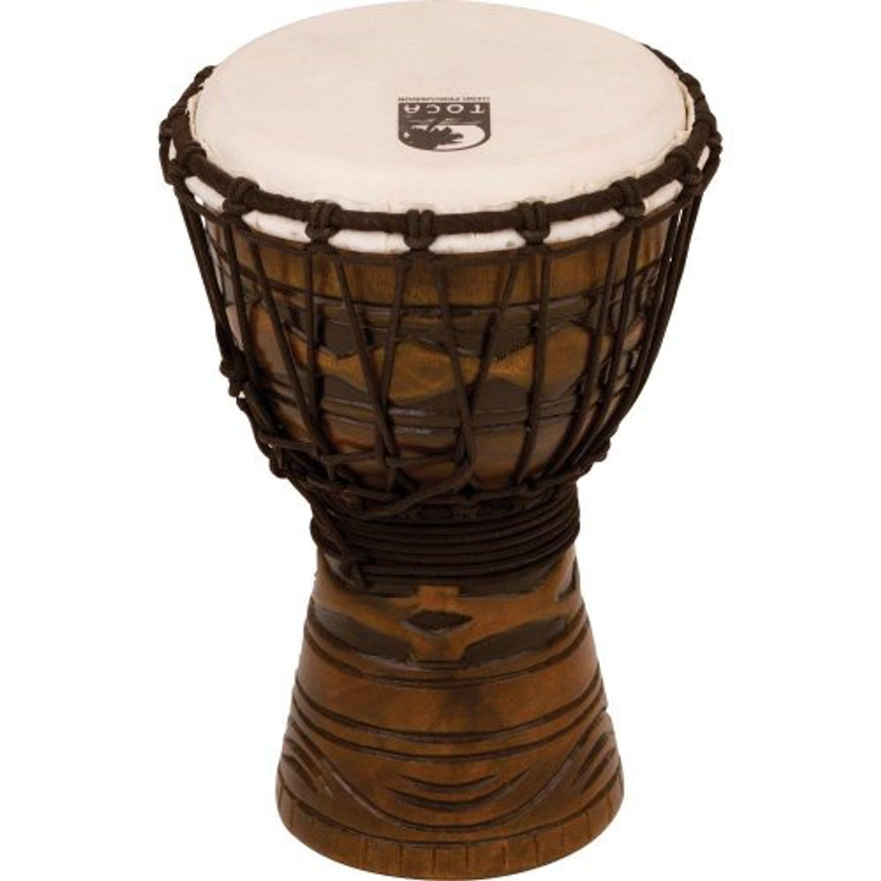 Toca a TODJ-7AM Origins Series Rope Tuned Wood 7-Inch Djembe - African Mask Finish