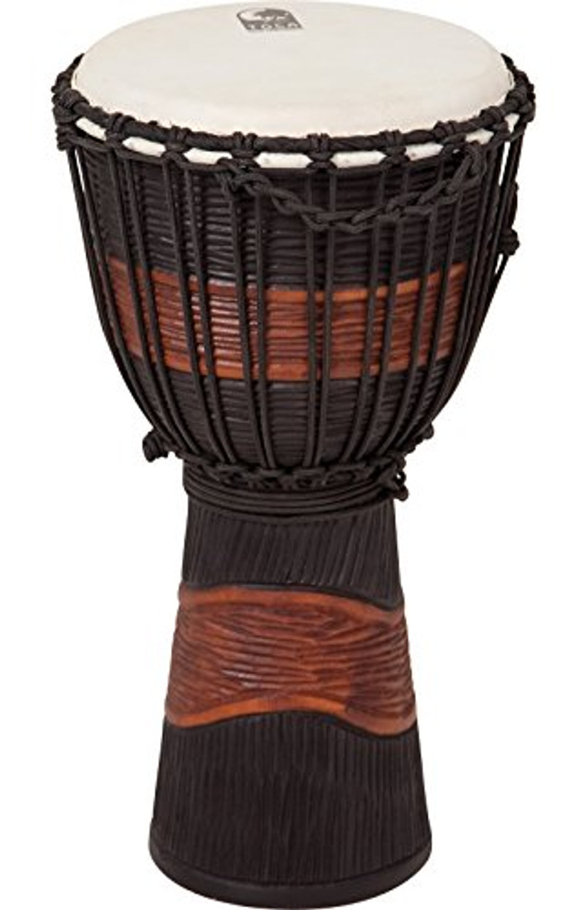Toca a TSSDJ-MB Street Series Rope Tuned Wood Djembe, Small - Brown and Black Stain