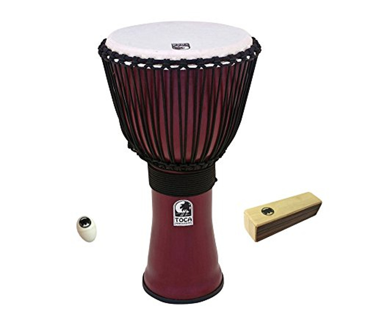 Toca a Freestyle II Rope-Tuned Djembe 10 inch Deep Red