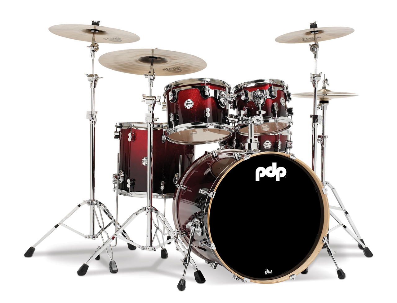 Drum Workshop Red to Blk Fade - Chrm Hw 5 Pcs