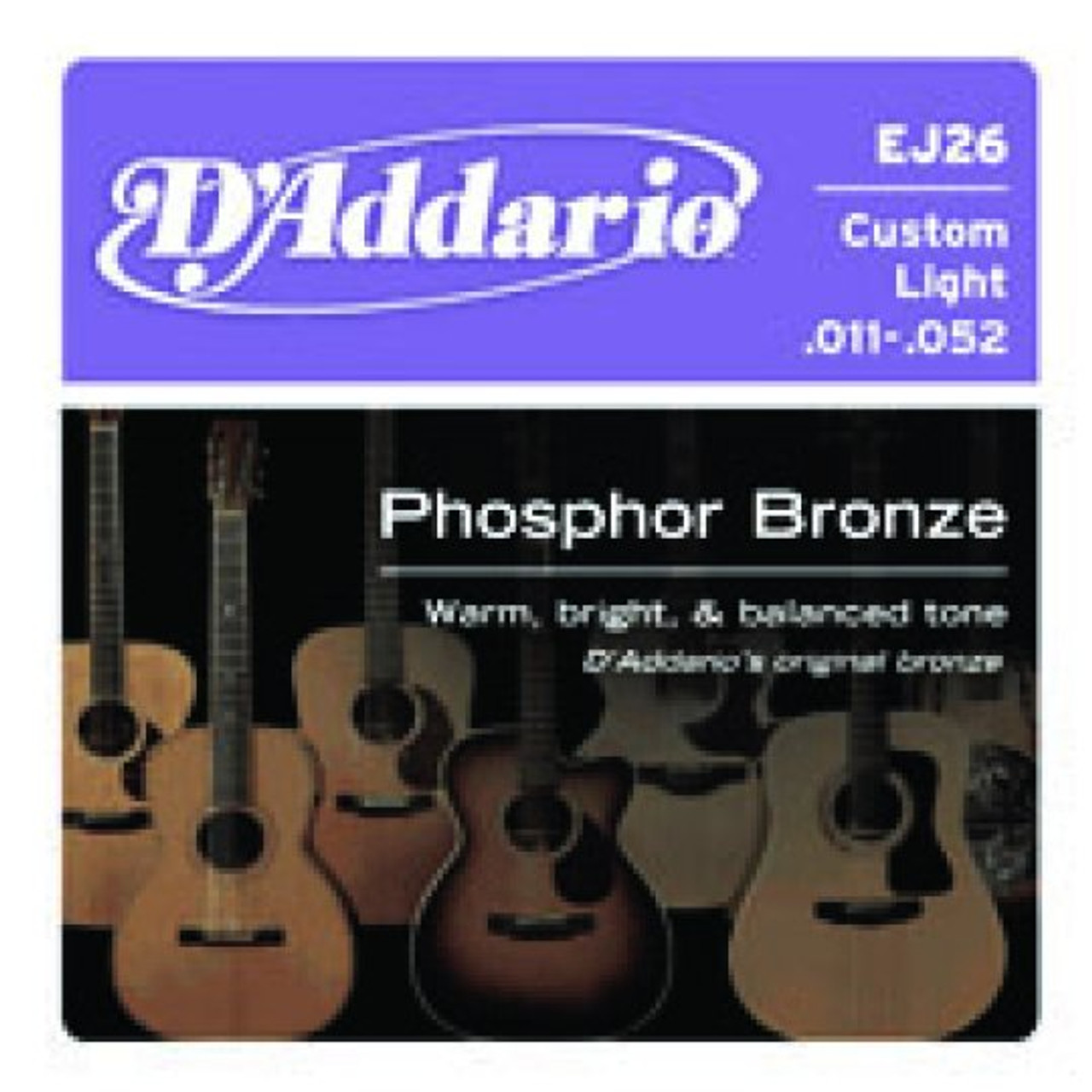 D'addario Custom Light Phosphor Bronze Acoustic Strings (11-52)
