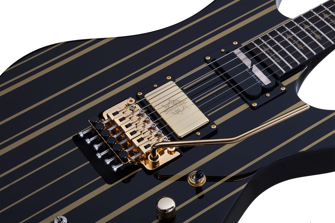 Schecter Synyster Custom-Sustainac Gloss Black w/Gold Stripes