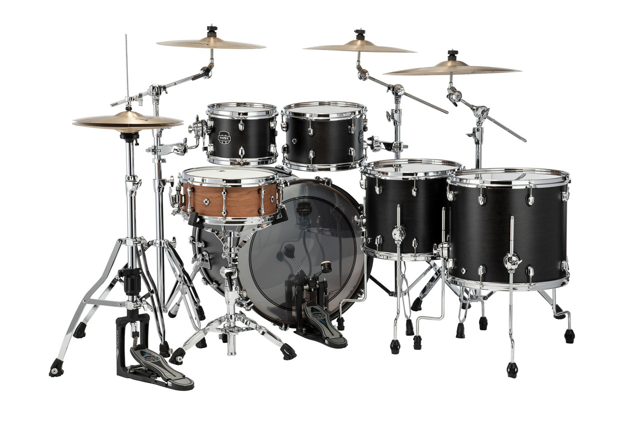Mapex Saturn Studioease 5 Piece Shell Pack Without Snare Satin Black (SR628XUFB)