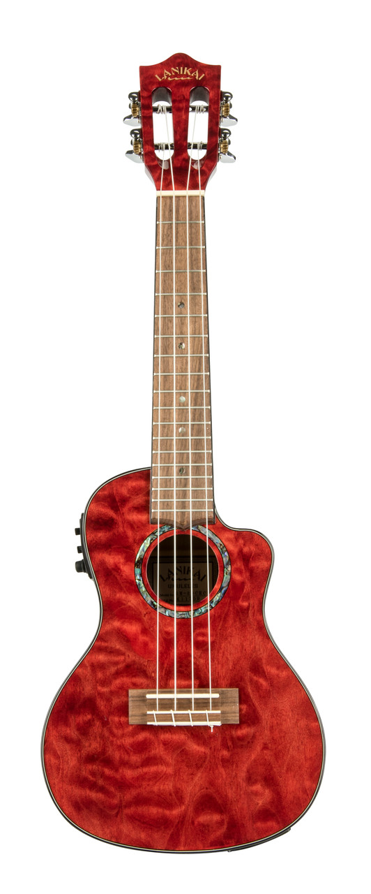 Quilted Maple Red Stain Concert with Kula Preamp A/E Ukulele (QM-RDCEC)
