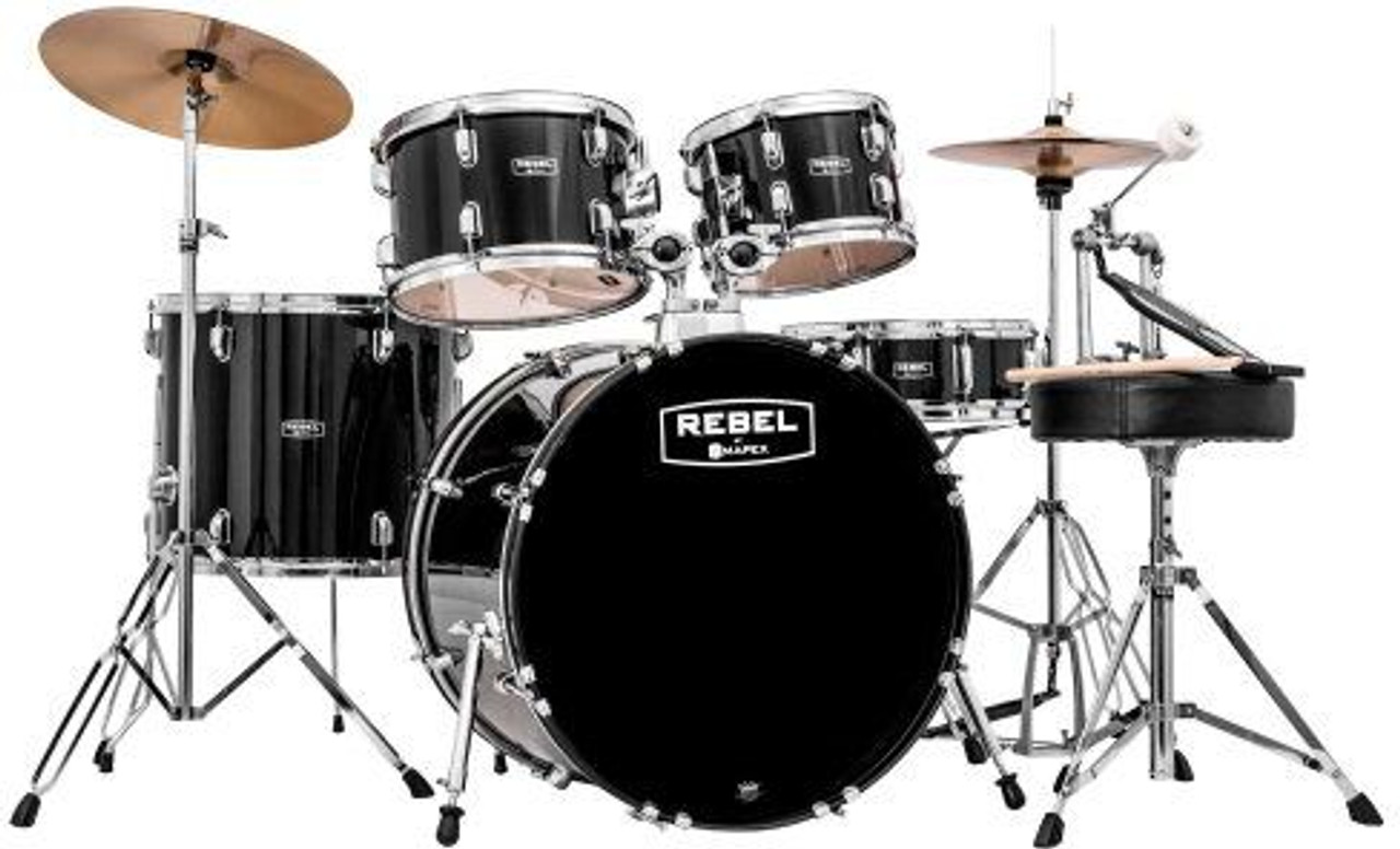 MAPEX REBEL 5 PIECE COMPLETE SET UP WITH FAST SIZE TOMS BLACK (RB5844FTCDK)