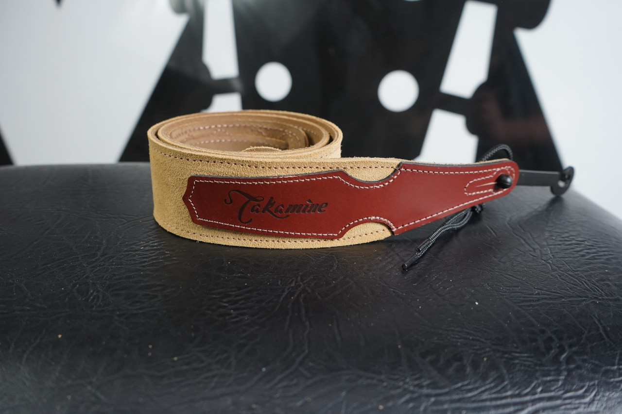 Takamine Leather Guitar Strap Brown Suede
