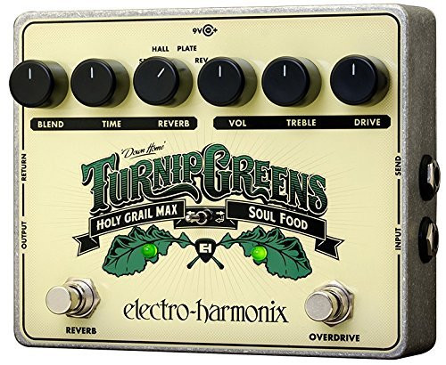 Electro Harmonix TURNIP GREENS Multi-Effect combines Soul Food + Holy Grail Max, 9.6DC-200 PSU Included
