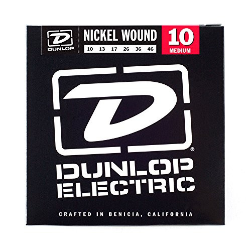 Dunlop DEN1046 Nickel Wound Electric Guitar Strings, Medium, .010-.046, 6 Strings/Set