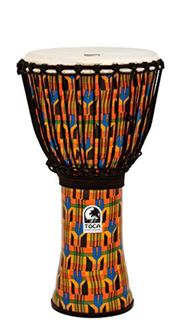 Toca a SFDJ-12K Freestyle Rope Tuned 12-Inch Djembe - Kente Cloth
