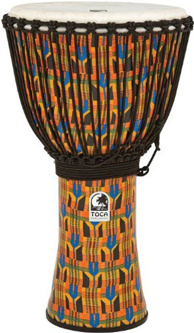 Toca a SFDJ-14KB Freestyle Rope Tuned 14-Inch Djembe with Bag - Kente Cloth
