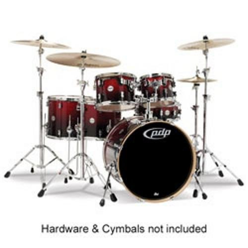 Drum Workshop Red to Blk Fade - Chrm Hw 7 Pcs