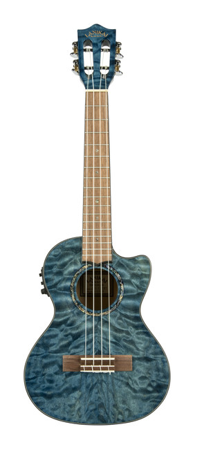 Quilted Maple Blue stain Tenor with Kula Preamp A/E Ukulele (QM-BLCET)