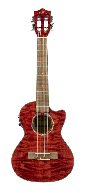Quilted Maple Red Stain Tenor with Kula Preamp A/E Ukulele (QM-RDCET)