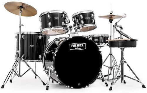 MAPEX REBEL 5 PIECE COMPLETE SET UP WITH  FAST SIZE TOMS BLACK (RB5294FTCDK)
