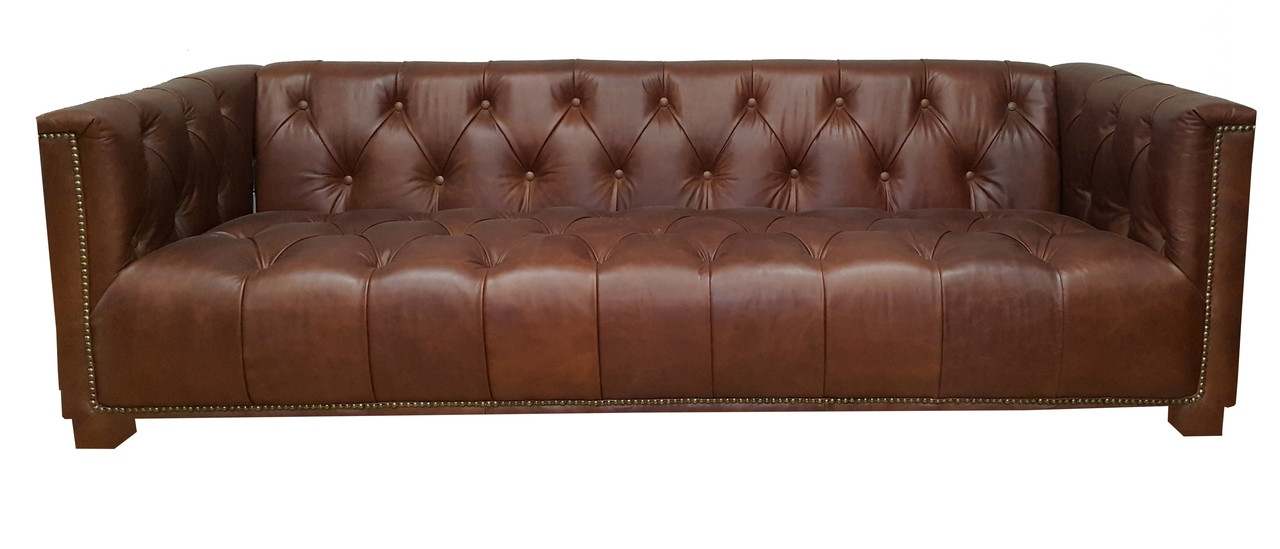 Chesterfield 5 Seater Sofa Set In Vintage Bark Leather Odds Ends