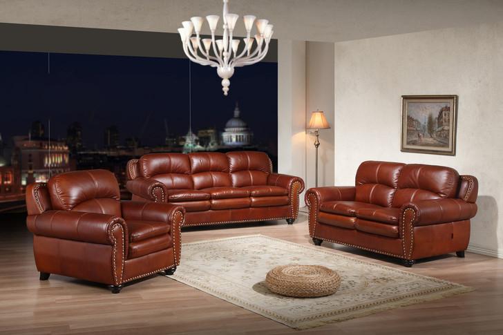 Dallas 7 Seater Sofa Set in Sierra Dark Brown Leather