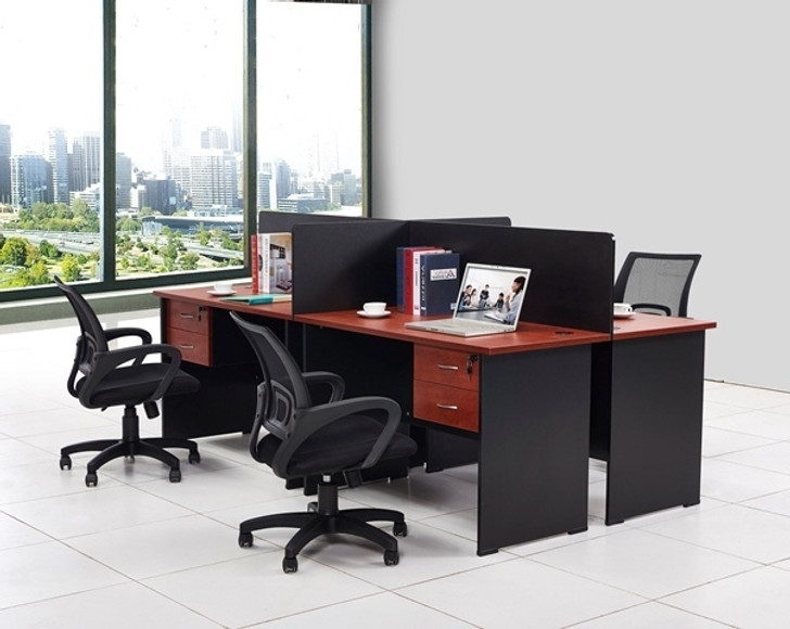 Cosmo 4 Part Workstation 2.4m x 1.2m in Red Apple