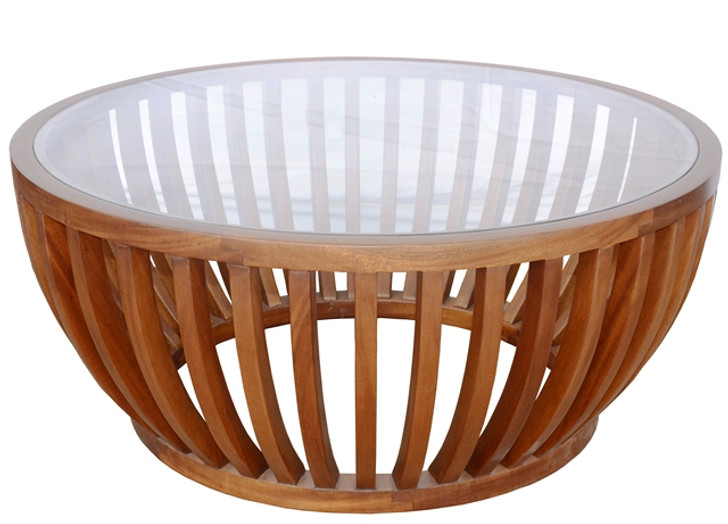 Circular Glass Top Drum Coffee Table