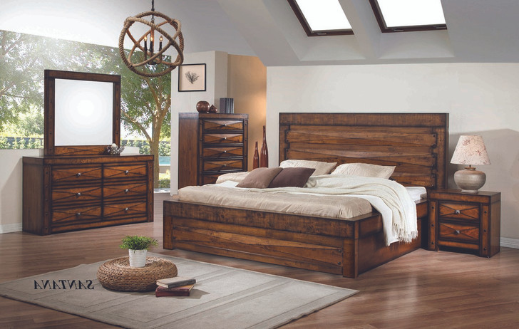 Santana Queen Bed with 2 Bedside Cabinets