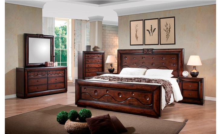 Gloria Queen Bed with 2 Bedside Cabinets - OUT OF STOCK