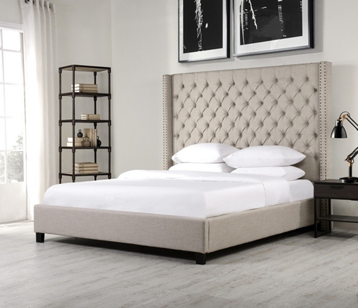 Alder Tufted Bed  In Beige - Queen Size - OUT OF STOCK