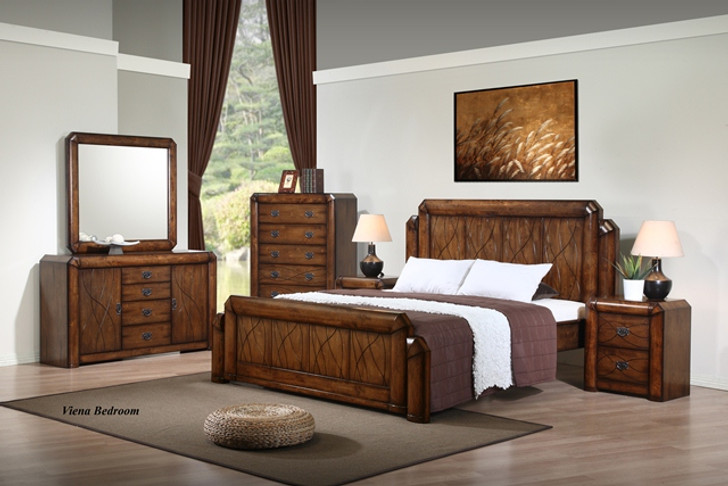 Viena Queen Bed with 2 Bedside Cabinets