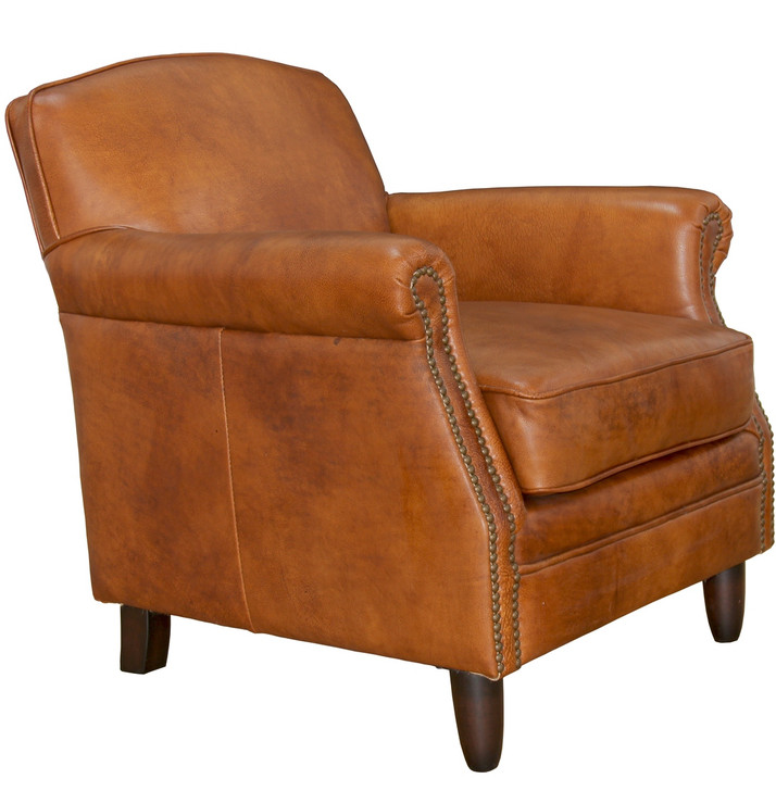 Jorge Easy Chair In Vegetable Brown Leather - OUT OF STOCK
