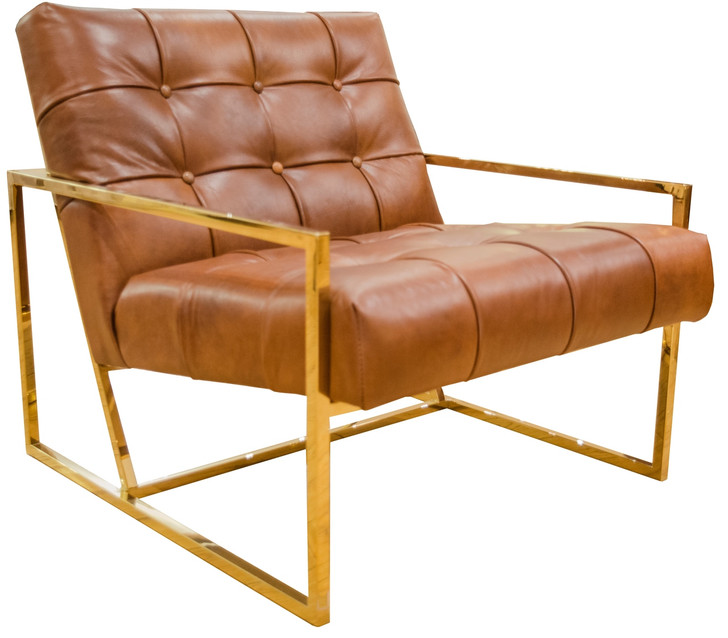 Mahora Chair In HK Gold Frame & Leather (Vegetable Brown)