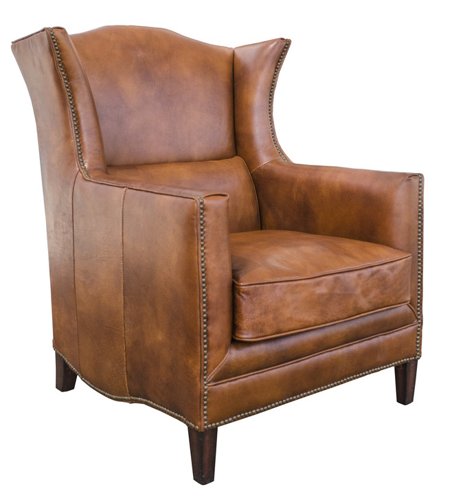 Les Palmiers Wing Chair In Leather (Vegetable Brown)