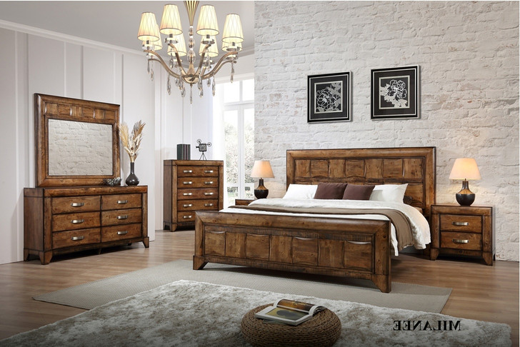 Milanee King Bed with 2 Bedside Cabinets  (Nevada brown)