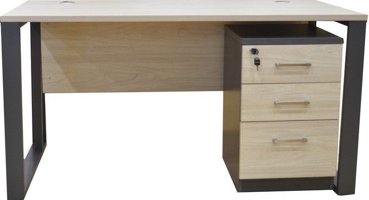 Staten Desk With Mobile Drw Ped In Elm 1.4m x 0.7m-OUT OF STOCK
