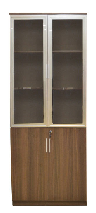 Staten 5T Glass Door Filing Cupboard In Dark Oak