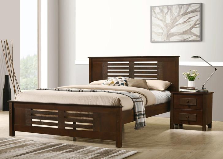 Dobbin Queen Bed in Ant. Oak,  Measurements in Cms (Size of Mattress) -  Queen Bed, Width (152) x Length (200)