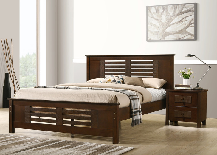 Dobbin Queen Bed in Ant. Oak,  Measurements in Cms (Size of Mattress) -  Queen Bed, Width (152) x Length (200)