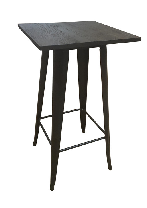 Bistro Bar Table In Black & Elm Top