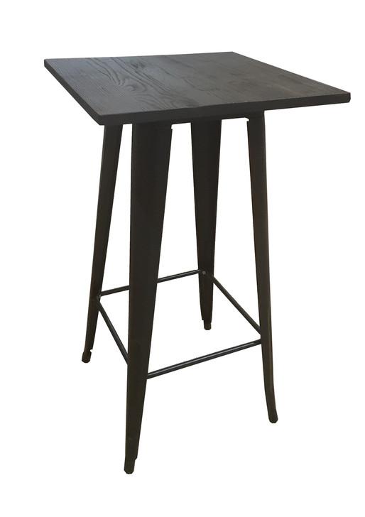 Bistro Bar Table In Black & Elm Top