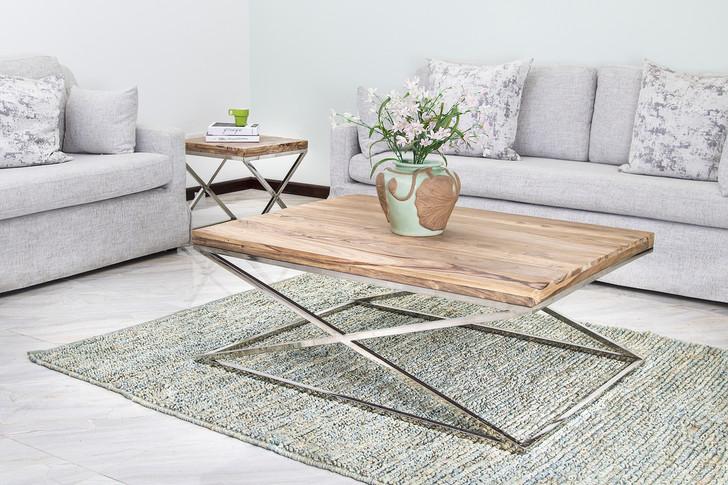 X Legs Coffee Table in Steel & Sheesham