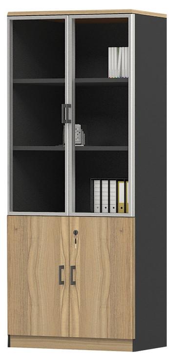 Brooklyn 2 Glass Doors Cabinet in Brown Oak