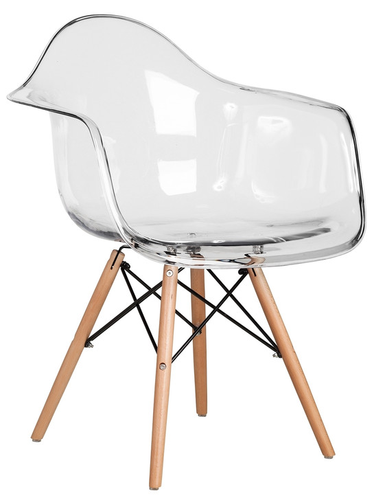 Retro Eames Style Bistro Chair With Arms in Clear
