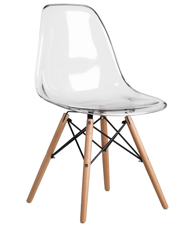Eames Style Bistro Chair Without Arms in Clear