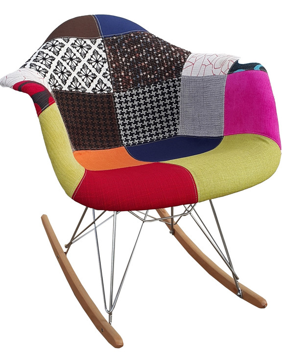 Eames Style Rocking Chair In Patchwork Fabric - OUT OF STOCK