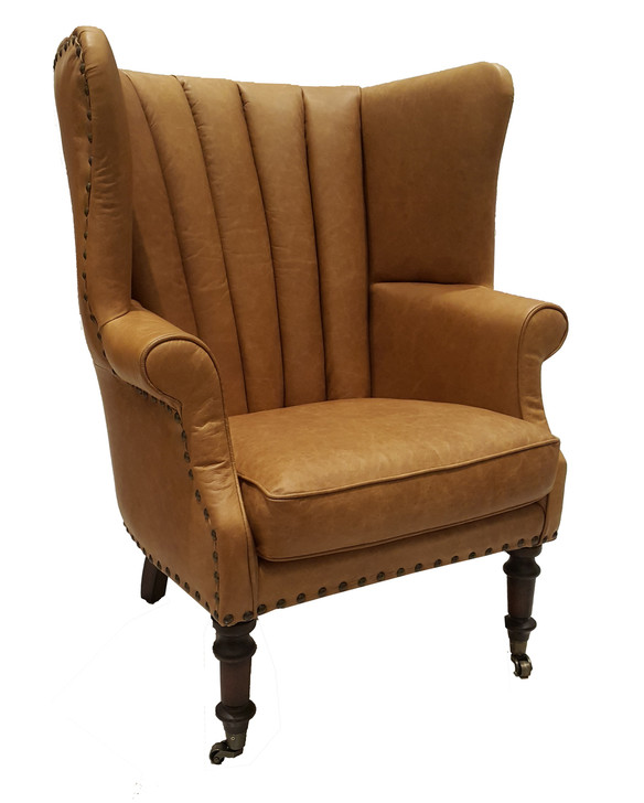 Churchill Wing Chair In Columbia Brown Leather (C0321-1D)