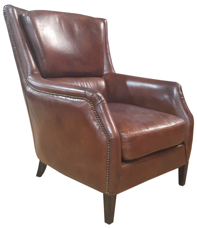 Bakers Arm Chair In Vintage Cigar Leather - OUT OF STOCK